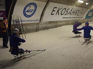 [写真]練習するロシア選手たち