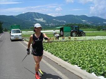[写真]高原野菜レタス畑を行く太田選手