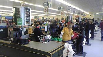 [写真]スーパーのレジ