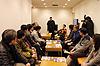 [写真]応援ツアーに出発!成田空港での決起集会で
