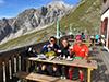 [写真]山小屋でのコーヒーは格別でした