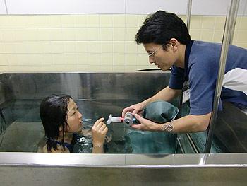 [写真]肺の息を測定している太田渉子