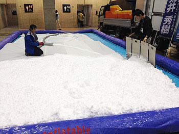 [写真]大きなプールに雪を積んでいます。