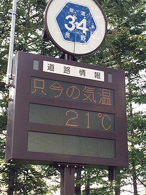 [写真]電光掲示板に表示された気温