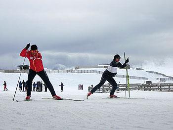 [写真]スピードメニュートレーニングする出来島桃子選手と阿部友里香選手