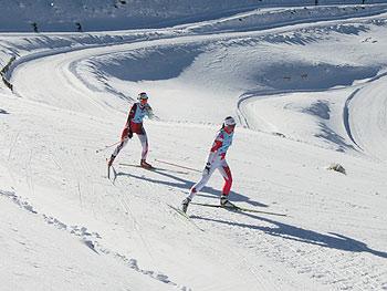 [写真]カナダ選手と競う阿部友里香