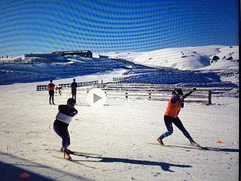 [写真]スキーでエクササイズ