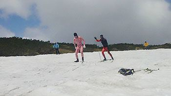 [写真]スキートレーニングするレンティング選手と新田選手