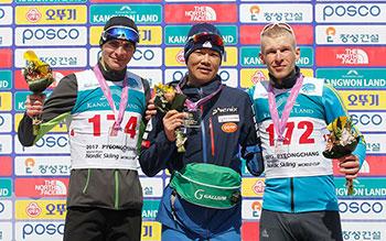 [写真]クラシカル10kmで金メダルを獲得した新田選手
