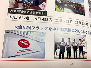 [写真]大会報告書に掲載された応援フラッグ
