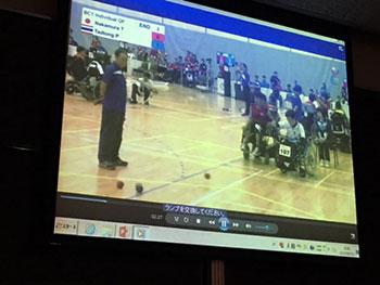 [写真]ボッチャの海外大会の映像