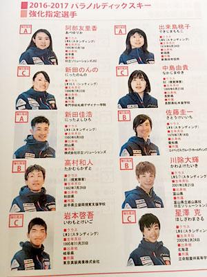 [写真]阿部選手、新田選手はA指定、川除選手はB指定