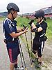 [写真]合宿初日、ローラースキートレーニング
