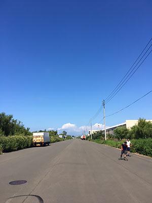 [写真]青空の下、ローラースキートレーニング