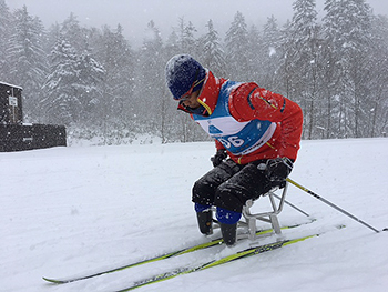 [写真]スキーポールのエクササイズ