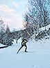 [写真]西岡競技場を走る新田佳浩選手