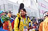 [写真]阿部選手は初レースを終えて、ホッとした様子