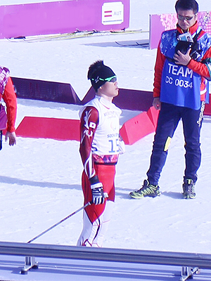 [写真]ソチパラリンピック クロスカントリー・クラシック20km試合直前の新田佳浩選手