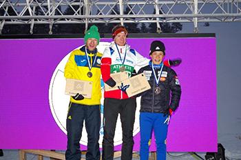 [写真]スプリント・クラシカルで銅メダル獲得の表彰台