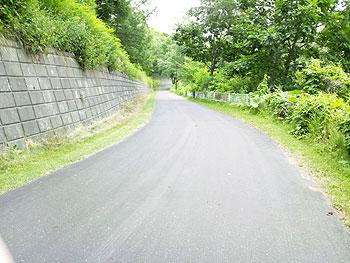 [写真]自宅前から練習場までの下り坂