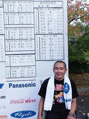 [写真]レース後、壁に貼られたリザルトの前の長田弘幸選手
