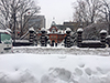 [写真]雪に覆われた会社の前からの眺め