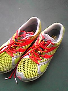 [写真]靴紐を結ぶ前のランニングシューズ