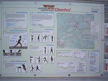 [写真]ポールウォーキングのテクニックを紹介した看板