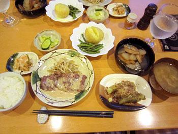 [写真]「ペンション陽のあたる場所」の夕食