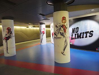[写真]都営大江戸線パラリンピック競技展示のパラテコンドーのポスター