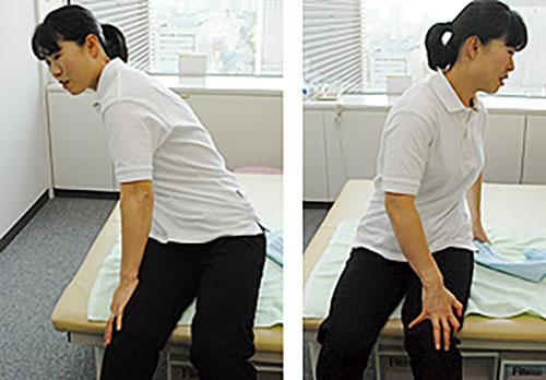 [写真]骨盤をねじるように、左右交互にストレッチ