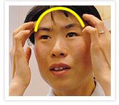 [写真]髪の毛の生え際を押す