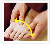 [写真]両外側へ親指で押す